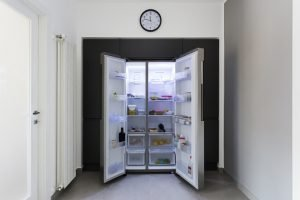 Modern fridge side by side and food storage